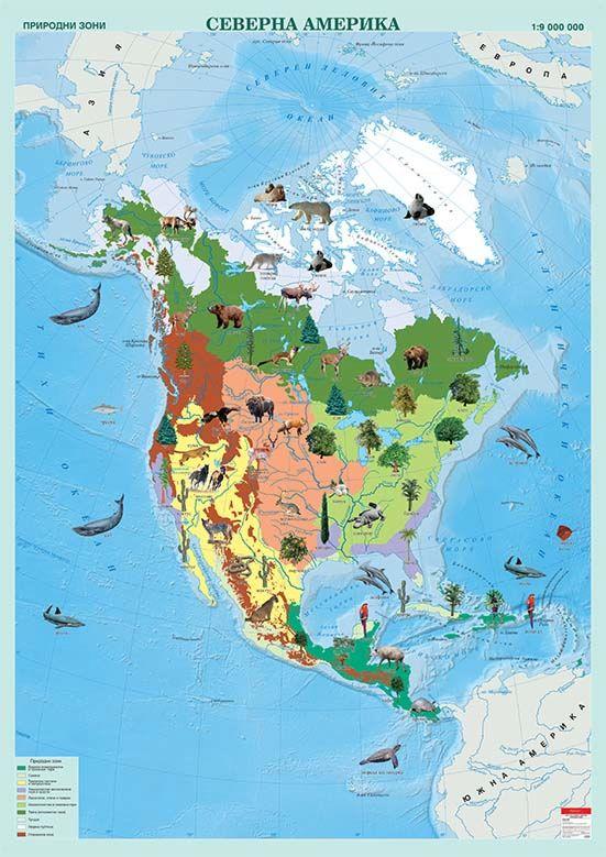Store Bg Stenna Karta Na Severna Amerika S Prirodni Zoni M 1 9