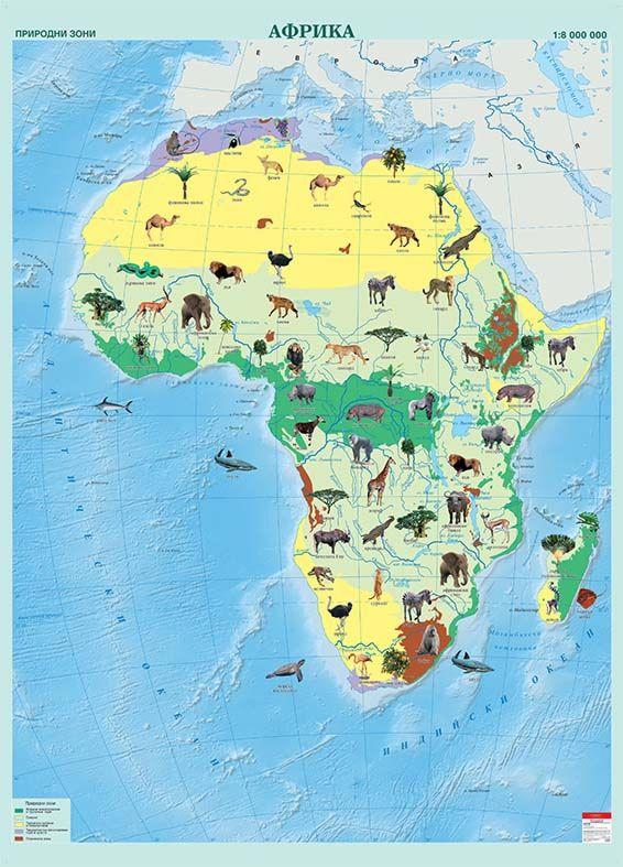 Store Bg Stenna Karta Na Afrika S Prirodni Zoni M 1 8 000 000
