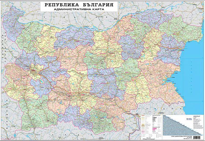 Store Bg Stenna Administrativna Karta Na Blgariya M 1 530 000