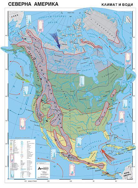 Store Bg Severna Amerika Klimat I Vodi Stenna Karta M 1 7
