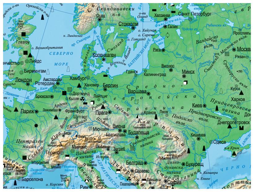 Karta 2019 Fizikogeografska Karta Na Evropa